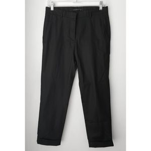 THEORY black cotton stretch cuffed crop trousers